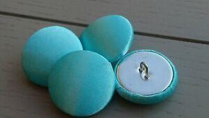 Mint Green Satin Fabric Buttons, 16mm, 20mm, 25mm, Small, Medium & Large