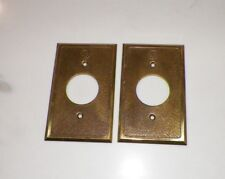 PAIR (2) VINTAGE BRASS METAL RCA MICROPHONE JACK COVER PLATES circa 1930,s