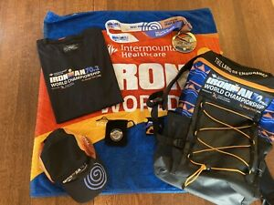 2021 IRONMAN 70.3 St. George World Champs medal, back pack, hat, towel, t-shirt