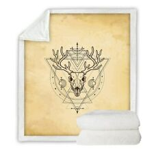Geometric Deer Skull Witchcraft Sherpa Plush Throw Blanket Fleece Bed Sofa Couch