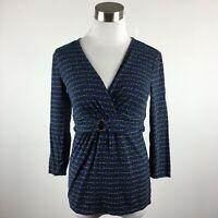 Ann Taylor S Small Knit Top Blue Chain Print Cross V Stretch 3/4 Slv Gold Ring