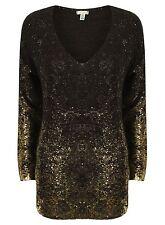 New-Black & Gold Foil Fleck Long Jumper-V Neck Metallic Splash Sweater-6/8/10