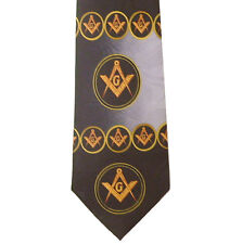 Freemason's Tie - Black and Gray Polyester long necktie with swirl pattern