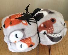Woodland animal Fox Deer Owl Print Soft Throw Bed Sofa Pet Orange Grey Blanket