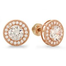3.7ct Round Cut Halo Stud Solitaire Earrings 14k Solid Rose Gold Screw Back