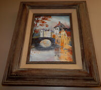 RIVER CROSSING original oil on canvas painting artist signed framed bridge