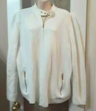 Women Ralph Lauren RL Logo Button White Gold Zip Sweater Jacket 2x 22 24w  plus