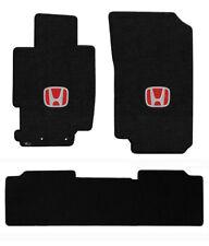 New! 2006-2015 Honda Civic Custom Carpet Floor Mats 3pc Set Embroidered Logo Red