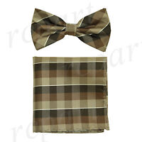 New Men's micro fiber Pre-tied Bow tie & hankie brown plaids checkers formal