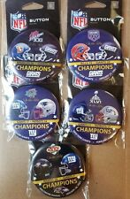 New York Giants Super Bowl Contestants Button Set Lot of 5 21 25 42 46 35