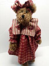 "Vintage Boyds Bears 15"" Plush Margarita Teddy Artisan Series Red Plaid Dress"