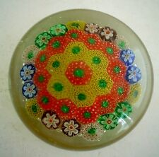 Vintage Millefiore Art Glass Dome Shaped Paperweight Italian