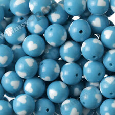 12pcs 20mm Sky Blue Heart Gumball Beads, Bubble Gum Chunky, Acrylic, Solid, USA