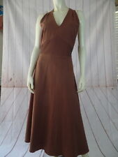 Sheri Martin Dress 14 Brown Slub Linen Rayon Blend Racerback Variation Long Yoke