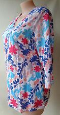 Savannah plus size 16 blue red white floral print top 3/4 sleeves cotton