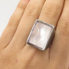 Vtg 925 Sterling Silver Real Pink Mother-Of-Pearl Wide Ring Size 7