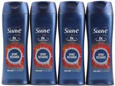 4 Suave Men 2X Fresh & Clean Sport Recharge Energizing Body Wash 12 Oz. Each