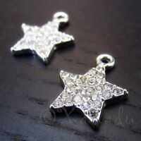 Star Charms - 17mm Silver Plated Rhinestone Pendants C6472 - 2, 5 Or 10PCs