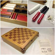 Vintage Deluxe Wood Box Game Set - Checkers Backgammon Poker Cards Dice Marlboro