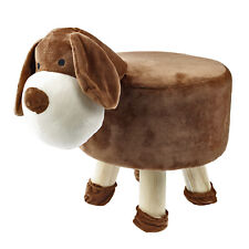Dog Stuffed Plush Animal Non-slip Round Kids Stool w/ Removable Slipcover