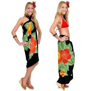 1 World Sarongs Womens Premium Hand Painted Hibiscus Cover-Up Sarong in Black