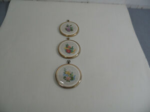 Set Of 3 Vintage  Small Round Framed Tapestry Wall Pictures - 7.5 Cm Diameter