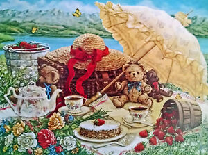 A Beary Nice Picnic by Janet Kruskamp Teapot Strawberries Teddy Bear and Parasol