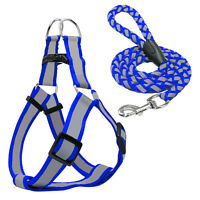 Step-in Nylon Dog Harness&Leash Set Reflective Adjustable Safety Lead XS S M L