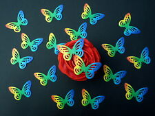 30 x PRE-CUT RAINBOW SINGLE BUTTERFLIES EDIBLE RICE WAFER PAPER CAKE TOPPERS