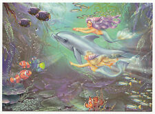 Zorina Baldescu Mermaids play with the dolphin modern card