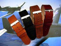 1pc NATO® RAF military Bomber Pilot Grain Leather Bund watchband strap IW SUISSE