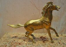 Vintage Solid Brass Running Horse Statue Figurine Flying Tail Decor