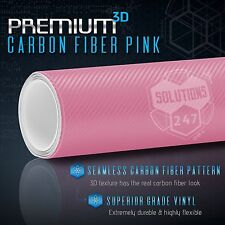 "60"" x 96"" In Vinyl Wrap Bubble Free Air Release 3D Pink Carbon Fiber Matte Roll"