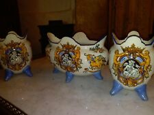 Garniture cache pot faience de Gien Renaissance