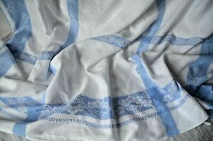 Antique table cloth, hand embroidered FA monogram, blue borders