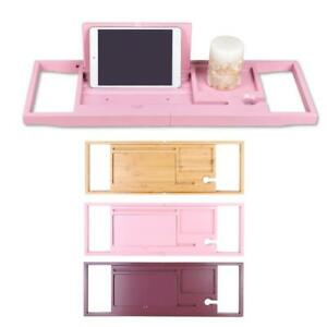 Retractable Bathtub Tray Bamboo Bathtub Shelf Book Holder /Tablet Storage Rack