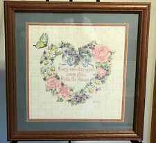 Homco Home Interiors Framed Print Ava Freeman Picture Heart Flowers Butterfly