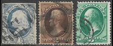1873 US POSTAGE Set of 3 USED STAMPS (Scott # 156-158) CV $28.50