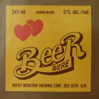 VINTAGE CANADIAN BEER LABEL - ROCKY MOUNTAIN BREWERY, BEER 341 ML