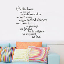 Wall Sticker Quote In this house we are real Home Decal Family Wall Sticker Word