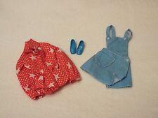 Vintage Barbie SPORT STAR #3353 Skirt & Bib Red Star Body Suit Chunky Shoes 1972