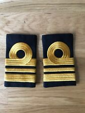 Royal Navy RN Rank Slides (Pair) Black and Gold (stitched)- Lieutenant Commander