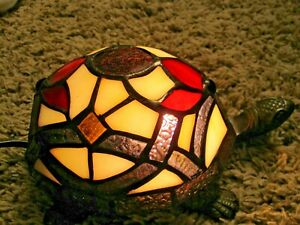 """Tiffany Style Stained Glass Brass Turtle Lamp Night Lite Accent Table Lamp 8"""""""