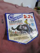 Vintage Campari D.J's Corduroy Cowboy Pants / trousers, NOS