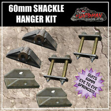 OFF ROAD TRAILER SHACKLE SPRING HANGER KIT. GREASABLE SHACKLES TO SUIT 60MM