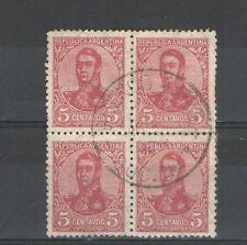 R286 - ARGENTINA 1908 - RARA QUARTINA USATA COMMEMORATIVA N. 137 - VEDI FOTO