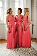 7e6e8c90edb V Neck Long Chiffon Bridesmaid Dresses Wedding Party Maxi A Line Ballgown Uk