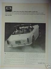 1964 Triumph TR-4 Sports Car  photo print paper ad