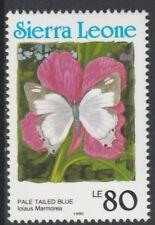 Sierra Leone 6805 - 1991 Schmetterlinge 80L Country in blau P14 nicht gefaßt