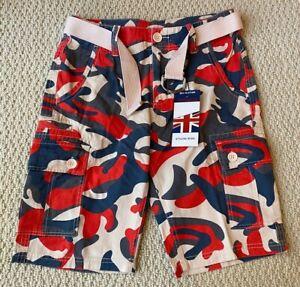 NWT Men's Revolution Red Blue Camouflage Cargo Pocket Shorts w/ Belt ALL SIZES